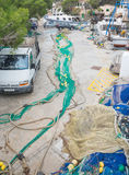 Green fishing net in Cala Figuera, Majorca. Royalty Free Stock Images