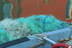 Green fishing nets used by fishermen when fishing Stock Image