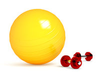 Green fitness ball  on white Royalty Free Stock Images