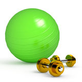 Green fitness ball  on white Stock Photos