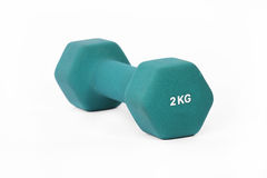 Green fitness dumbbell Stock Photography