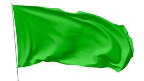 Green flag on flagpole Royalty Free Stock Images