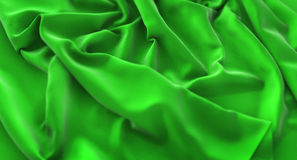Green Flag Ruffled Beautifully Waving Macro Close-Up Shot 3D Ren. Dering Studio Royalty Free Stock Photography