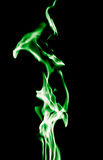 Green flame of fire on a black background Royalty Free Stock Photography