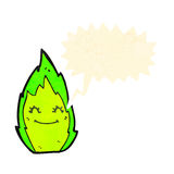 Green flame sprite cartoon Royalty Free Stock Photos