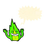 Green flame sprite cartoon Royalty Free Stock Photo