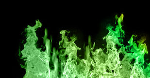 Green flames Stock Photos