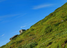 Green flank of hill and blue sky bias. Royalty Free Stock Images