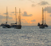 A green flash at sunset in the windward islands Royalty Free Stock Images