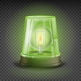 Green Flasher Siren Vector. Realistic Object. Light Effect. Rotation Beacon. Warning And Emergency Flashing Siren Stock Images