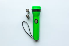 Green Flashlight with Battery Royalty Free Stock Photo