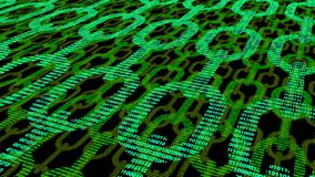Green flat chains with binary texture and multiple layers blockc Royalty Free Stock Photography