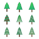 Green flat christmas tree symbol icons set. Vector Illustration EPS10 Royalty Free Stock Photo