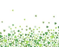 Green flat clover shamrock leaves isolated on white background border for St. Patrick`s day. Green flat clover shamrock leaves isolated on white background vector illustration