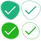 Green flat icons - Check box icon set - Done and correct. A set of flat green icons - check box - correct answer - done Stock Images