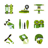Green flat icons for longboard accessories. Flat color design icons for longboards and extreme sports. Skateboard, accessories, wheels, helmet, suspension. For Stock Photos