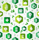 Green flat icons seamless pattern. Royalty Free Stock Photos