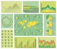 Green Flat Infographics Stock Photography