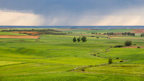 Green and flat landscape with storm Stock Photo