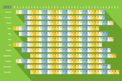 Green flat linear calendar 2015 with long shadow Royalty Free Stock Photography