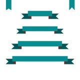Green flat ribbon banners set. Design vector illustration Stock Photo