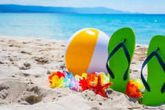 Green flip flops and beach ball Stock Image