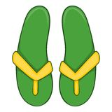 Green flip flops icon, cartoon style Stock Image