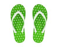Green Flip Flops isolated on white background. Polka dots Sandals.  Clipping path royalty free stock photos