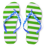 Green flip flops  on white with clipping path Stock Image