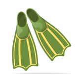 Green flippers for diving - vector illustration Royalty Free Stock Image