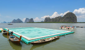Green floating football pitch at Panyi island, Thailand Stock Photography