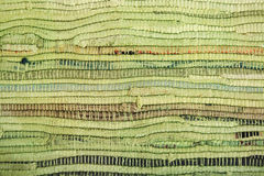 Green floor mat with brown stripes texture Stock Images