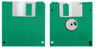 Green floppy disk Stock Photo