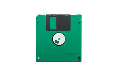 Green floppy disk. On white background royalty free stock photography