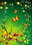 Green Flora Background. Of flowers, branches and butterflies Royalty Free Stock Photo