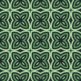 Green floral abstract background. Seamless pattern with symmetric geometric ornament. Royalty Free Stock Photos
