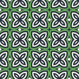 Green floral abstract background. Seamless pattern with symmetric geometric ornament. Royalty Free Stock Images