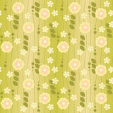 Green floral bacground. Green seamless botanical background with plants Vector Illustration
