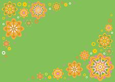 Green floral background. It is vector background with flower motives executed in pastel tones Royalty Free Stock Images