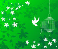 Green floral background. A green floral background with a bird flying out of a cage Royalty Free Stock Image
