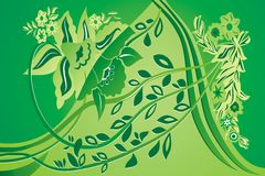 Green floral background. Different leaves and flowers Royalty Free Stock Image