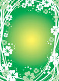 Green floral background. With four-leaf clover Royalty Free Stock Photos