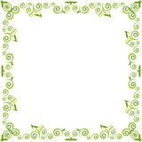 Green floral background. Whith swirl and leaf Stock Photos