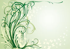 Green floral background. Green floral illustration with swirls and butterflies Stock Image