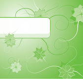 Green floral background with blank label Stock Image