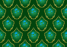 Green floral background with blue flowers Stock Photography