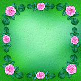 Green floral background framed by blooming roses Royalty Free Stock Photos
