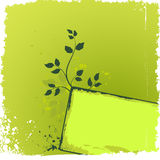Green floral background with grunge banner Stock Image