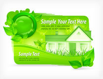 Green floral background with house. & text, vector illustration Stock Image