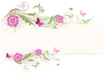 Green floral background with pink flowers. Vector green floral background with pink flowers Stock Photo